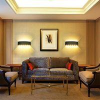 Applique Murale Interieur LED 12W Noir en Aluminium, Lampe Murale Moderne Up Down Spot Lampe pour Salon Chambre Hall Escalier Pathway (Blanc Chaud)