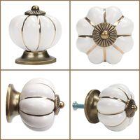 8 x Boutons de tiroir en céramique bouton de meuble forme citrouille pour tiroirs et placards de cuisine (Blanc)