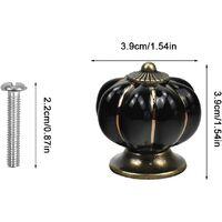 10 Pcs Boutons de tiroir en céramique bouton de meuble pour tiroirs et placards de cuisine (Noir)