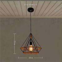 STOEX Lustre Suspension Industrielle 25cm en forme Diamant Corde de Chanvre Noir