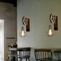2x Applique Murale Industrielle Poulie Vintage Lampe de Mur Luminaire Intérieur pour Chambre Salon Restaurant,Laiton