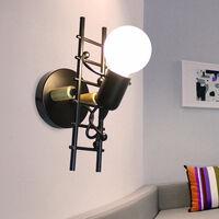 Créative Applique Murale Petit Gens de Fer, Lampe de Mur Style Simple Industrielle Lumière Interieur Enfant Bar Chambre Cuisine Restaurant Noir