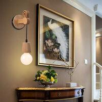 Applique Murale Intérieur Vintage Industrielle Lampe Murale E27 Luminaire Abat-jour en Métal avec Support en Bois pour Salon Couloir Bar (E27 Douille Noire)