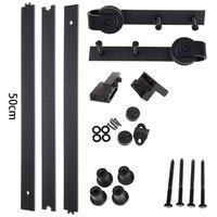 STOEX 1.5M Quincaillerie Kit de Rail Suspendu Porte Coulissante, Ensemble Industriel Hardware kit pour Porte Suspendue en Bois Système de Porte avec Roulettes et Rail