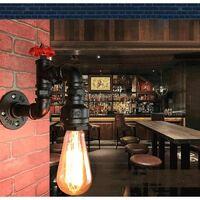 Applique Murale Loft Industriel Tuyau Tube D'eau Rétro en Fer Noir Lustre Lampe Lumières pour Salon Chambre Restaurant