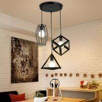 Suspension industrielle rétro cage en 3 forme différentes, Lustre abat-jour vintage E27 luminaire E27 Noir pour Restaurant Terrasse Salons