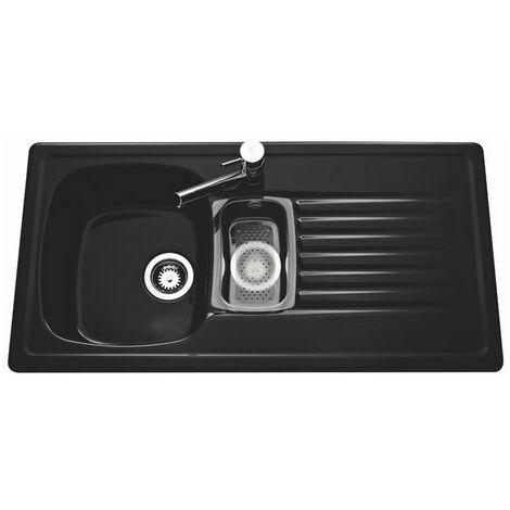 Evier céramique noir brillant Villeroy & Boch TARGA 1 bac 1/2 - 1 égouttoir