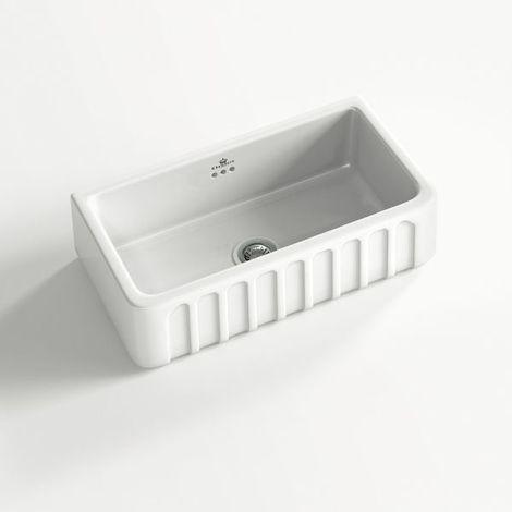 Évier céramique à poser VICTORIA 1 bac blanc 79x50 cm