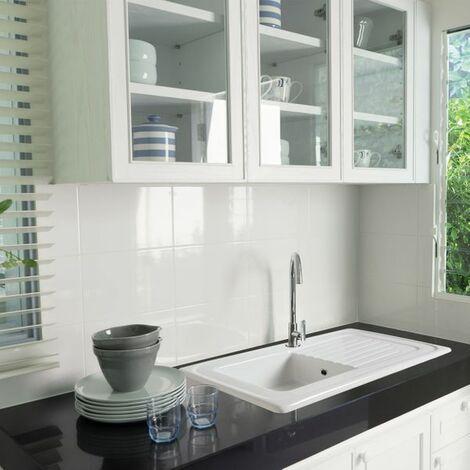 Evier céramique blanc EWI IRÈNE 1 bac 1 égouttoir
