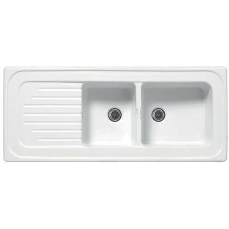 Evier céramique blanc EWI IRÈNE à encastrer 2 bacs 1 égouttoir