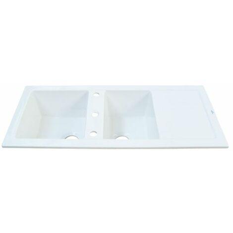 Evier céramique blanc GASPARD 2 bacs 1 égouttoir