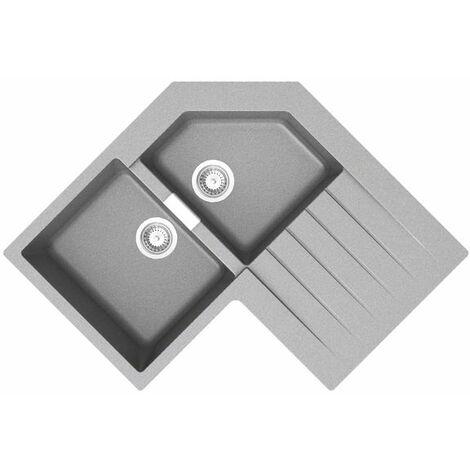Évier d'angle granit gris Schock LOKTI 2 bacs 1 égouttoir