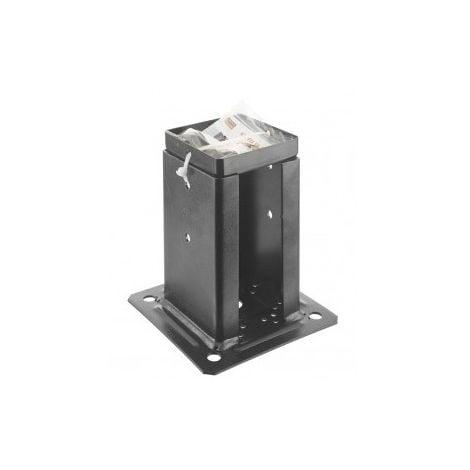 Kit Support pied de poteau à fixer carré NOIR 70x70 mm