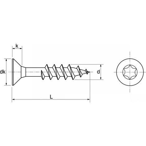 Vis pour Bois en Inox Classic Tête Torx pour extérieur Matière Inox A2 (AISI 304) Dimensions 5x70 mm Boite de 100 Vis