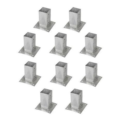 Support pied de poteau bois 90x90 / 9x9 à fixer galvanisé à chaud Lot de 10