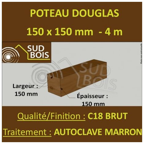 Poteau / Poutre 150x150mm Douglas Autoclave Marron Brut 4m