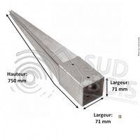 Support pied de poteau 7 x 7 x 75 cm ( 7x7 ) à enfoncer galvanisé à chaud Lot de 4