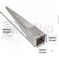 Support pied de poteau 9 x 9 x 75 cm ( 9x9 ) à enfoncer galvanisé à chaud Lot de 4