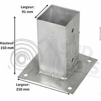 Support pied de poteau bois 90x90 / 9x9 à fixer galvanisé à chaud Lot de 4