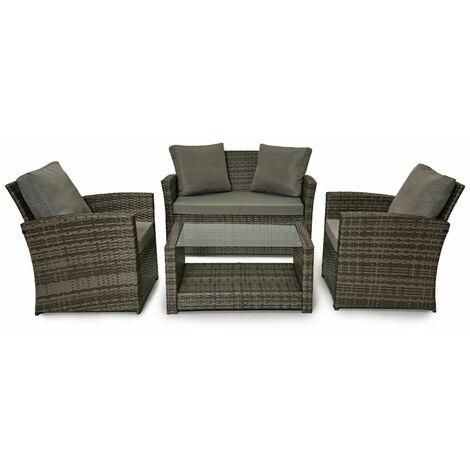 Evre Rattan Garden Furniture Weave Wicker Sofa Set Conservatory Set Grey Roma