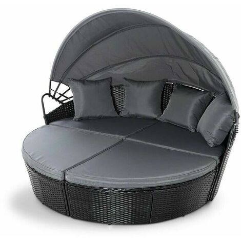 Rattan Outdoor Garden Bali Day Bed Patio Sun Lounge in Black - Black