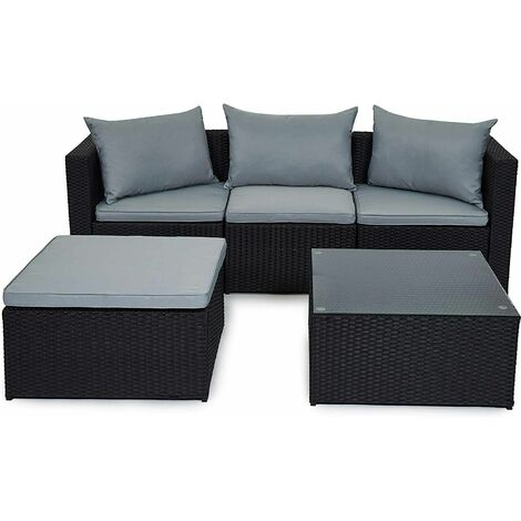 Evre Outdoor Rattan Garden Furniture Set Malaga Conservatory Patio Sofa coffee table Black with cover