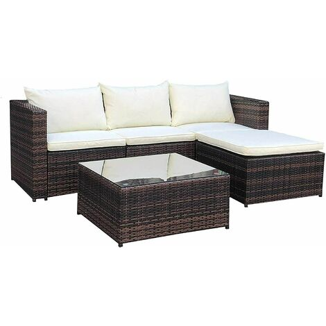 Evre Outdoor Rattan Garden Furniture Set Malaga Conservatory Patio Sofa coffee table Brown