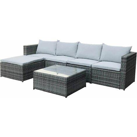 EVRE Rattan Outdoor Garden Furniture Set Miami Sofa Coffee Table, Foot Stool Rattan (Grey)