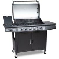 CosmoGrill 6+1 Pro Gas Burner Grill Barbecue Incl. Side Burner With Cover - Black