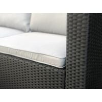 Evre Rattan Outdoor Garden Furniture Set Miami Sofa Coffee Table, Foot Stool Rattan (Black) - Black