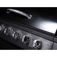 CosmoGrill 6+1 Gas Burner Grill BBQ Barbecue Inc Side Burner - 93422 with Cover - Black