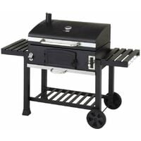 CosmoGrill XXL Charcoal Outdoor Smoker BBQ Portable Garden Barbecue Grill With Cover - Black