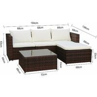 Evre Outdoor Rattan Garden Furniture Set Malaga Conservatory Patio Sofa coffee table Brown with cover