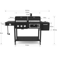 CosmoGrill Outdoor Barbecue DUO Gas Grill + Charcoal Smoker Portable BBQ with BBQ cover
