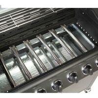 CosmoGrill 6+1 Pro Gas Burner Grill Barbecue Incl. Side Burner - Black 77 x 42 cm - Black