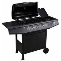 CosmoGrill 4+1 Gas Burner Garden Grill BBQ Barbecue W/ Side Burner & Storage - Black - BLACK