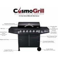 CosmoGrill  6+1 Gas Burner Grill BBQ Barbecue W/ Side Burner & Storage - Black