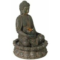 Evre Sitting Buddha Water Feature Decoration with LED Light - Bronze 40cm - Bronze