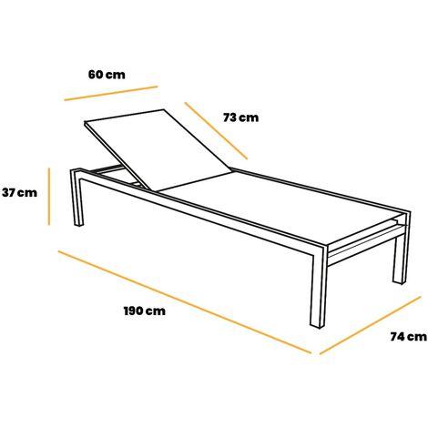 Pack 2 tumbonas de jardín y exterior, respaldo ajustable en 5 posiciones, hamacas para piscina, terraza o patio, aluminio y textileno, apilables y con 2 ruedas, estilo moderno y minimalista, 190x74x37cm, gris