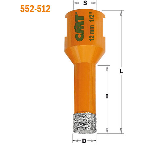 552-510 SCIE CLOCHE POUR MARBRE/GRANIT/CÉRAMIQUE S=M14 D=10X10X60 DR