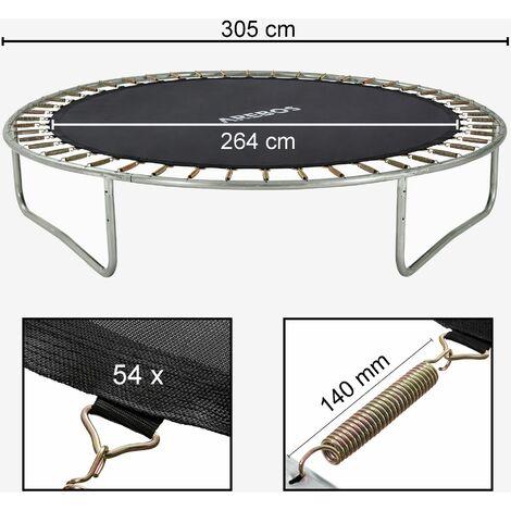 AREBOS Toile de trampoline Ø 264 cm pour trampoline de Ø 305 cm, pour 60 ressorts avec une longueur de 135 mm - noir
