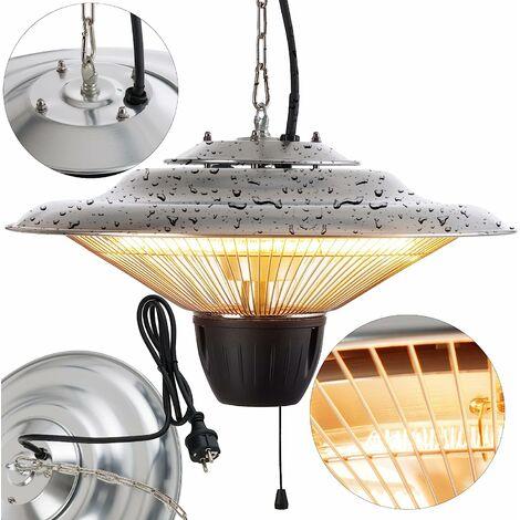 AREBOS  Chauffage Electrique Infrarouge Plafond 1500 W - Radiateur de Terrasse - argent