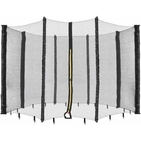 Arebos Filet de sécurité pour trampoline 490 cm - 8 poteaux - noir