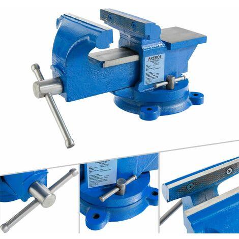 AREBOS Étau parallèle d'établi 100 mm - bleu