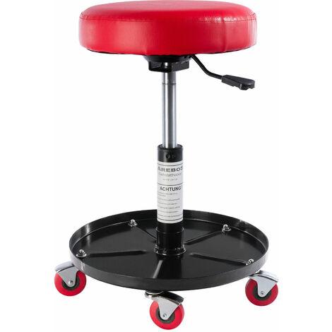 Tabouret d'atelier chaise d'atelier à hauteur réglable chaise d'atelier rotativ - rouge