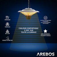 AREBOS Chauffage de Plafond Chauffage Infrarouge Radiateur de Terrasse 1500 W - Argent