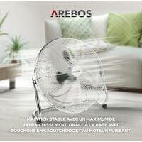 AREBOS Ventilateur de sol Ventilateur Souffleur Brasseur d'air 18 Pouces 120W - argent