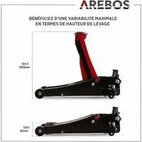 Arebos Cric hydraulique Cric de service de 3 tonnes Atelier Voiture de tourisme Véhicule automobile Hauteur de levage de 505 mm - noir/rouge
