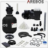 AREBOS Système de Filtre à Sable avec Pompe Filtre à Sable Pompe Filtre Système - Noir
