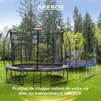 AREBOS Trampoline 10 pieds 305 cm Courbe Citrouille avec filet de sécurité Échelle - Noir